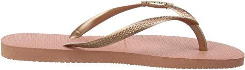 Havaianas Damen Slim Logo Metallic Zehentrenner, Pink (Rose Nude/Rose Gold 3655), 37/38 EU