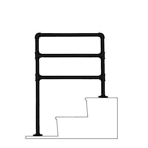 ZzJj - Corrimano-ringhiere per Scale Interne ed Esterne, Tubi in Ferro battuto zincati, Pali di Supporto per soppalco a corridoio Circolare da 3,2 cm, Nero Opaco, Dimensioni opzionali