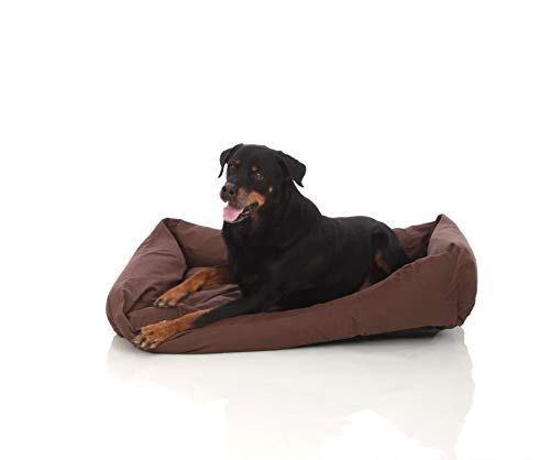 Pets&Partner® Hundebett aus Cordura, Indoor und Outdoor EXTREM ROBUST für kleine bis große Hunde, L, Braun
