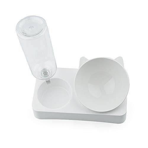 DLYDSSZZ Automatischer Trinkwasser-Doppelnapf für Katzen und Hunde, Lebensmittel-Utensilien, Anti-Umdrehung Reisschüssel 15 Grad Pflege Halswirbel Haustierbedarf (Größe : L)