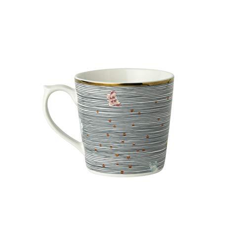 Laura Ashley - Becher klein - Porzellan - Weiss/Multicolor - Midnight Pinstripe - Volumen: 240ml - Spülmaschinen,- und Mikrowellengeeignet