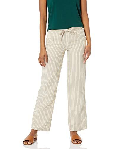 Amazon Essentials Pantaloni a Gamba Larga con Coulisse in Misto, Lino Naturale/Bianco Ticking Stripe, XS