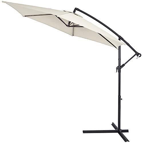 Kingsleeve Sombrilla XXL de jardín Crema 300cm con manivela y base en cruz Parasol con mástil aluminio