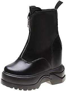 HebeTop Booties for Women, Winter Zipper Platform Elegant Solid Color high Heel Ankle Boots