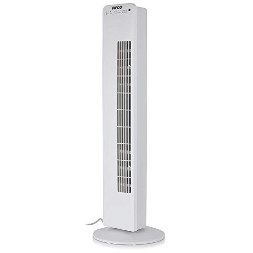 Pifco P40016 Digital 36 Inch Portable Tower Fan and Purifier with Ultra-Efficient DC Motor, 8 Hour Timer, Night Time Mode, Soft Touch Control, 3 Wind Speed Settings, Remote Control Included, White