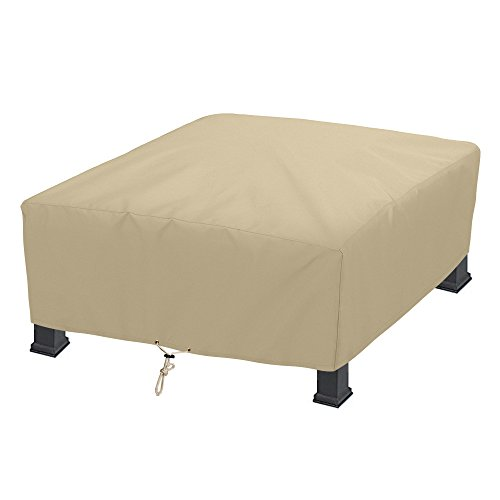 SunPatio Outdoor Square Fire Pit Cover 42 Inch, Waterproof Firepit/Table Cover, Heavy Duty Patio Furniture Set Cover, All Weather Protection, Beige