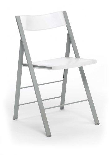 Silla Plegable, Silla Auxiliar, Modelo Pisa, Acabado en Color Blanco, Medidas: 45,5 cm (Ancho) x 47 cm (Fondo) x 78,5 cm (Alto)