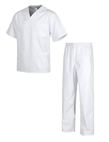 Workteam Uniforme o Conjunto Sanitario, NO Transparente, elástico en la Cintura, botón y Cremallera, Casaca y Pantalón Unisex Blanco S