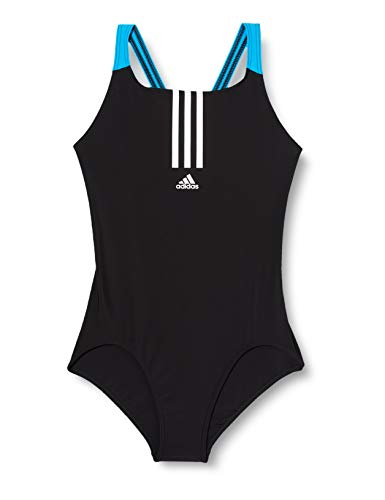 adidas Girls Yg Fit One Piece Swimsuit, Black/White, 1415Y