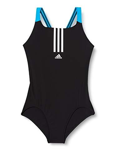 adidas Girls Yg Fit One Piece Swimsuit, Black/White, 1314Y