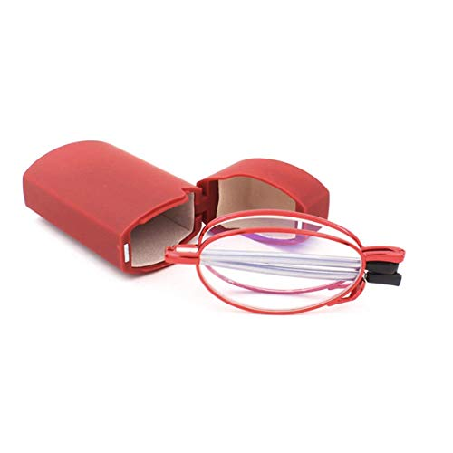 Opvouwbare leesbril van roestvrij staal mini anti-blauw peeshulp voor dames en heren leeshulp met harde schaal etui +3.0 rood