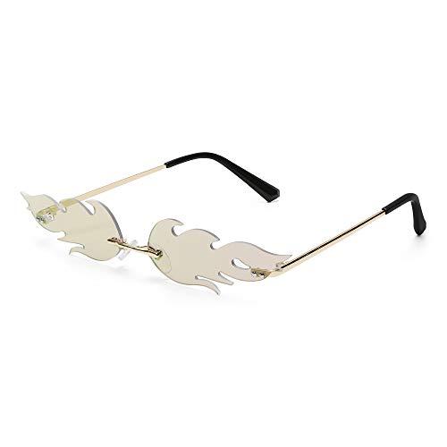 Tianayer Frauen Feuer Flamme Sonnenbrillen Randlos Welle Sommer Brillen Neuheit Brillen (Pink)