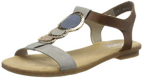 Rieker Damen Frühjahr/Sommer 64278 Geschlossene Sandalen, Grau (Cement/Amaretto/Rose/Jeans 42), 41 EU