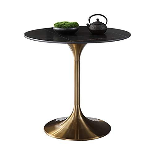 YLMF Hochwertiger Sinterstein-Stehtisch, runder Besprechungstisch, Edelstahlrahmen und Stabiler Sockel, für Bars, Büros, Café, Größe 60 x 60 x 75 cm