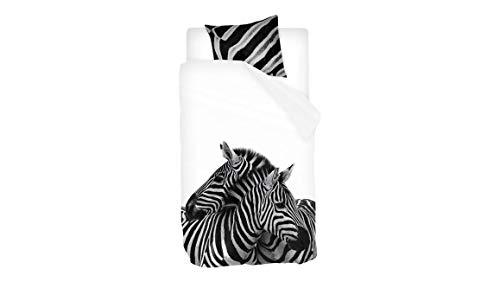 Snoozing Zebras - Juego de funda nórdica (140 x 200/220 cm y 1 funda de almohada), color blanco