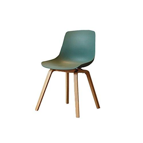 Northern Simple Oak Breakfast Holz Barhocker mit Green Thicken Plastic Sitz und Rückenlehne Bar Chair Erwachsenen Esszimmerstuhl Coffee Chair Multifunktional Office Chair Haushalt