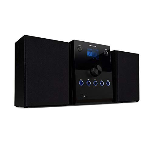 AUNA MC-30 Dab - Micro chaîne stéréo, Enceinte Bluetooth, Set d'Enceintes, Lecteur CD, Dab+, FM, Bluetooth, AUX, Écran HCC, 20 W Max, Télécommande - Noir Carbone