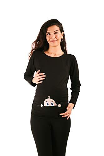 M.M.C. Neugieriges Baby - Lustige witzige süße Umstandsmode Umstandsshirt mit Motiv für die Schwangerschaft Schwangerschaftsshirt, Langarm (Schwarz, Large)