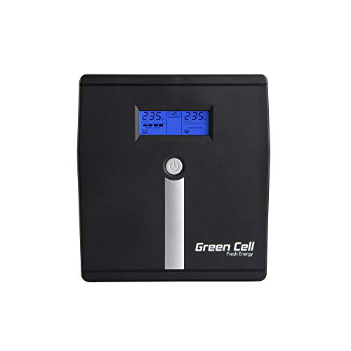 Green Cell® UPS USV Unterbrechungsfreie Stromversorgung 1000VA (700W) mit Überspannungsschutz 230V Line-Interactive AVR Pure Sine Wave Power Supply USB/RJ45 2X Schuko 2X IEC Ausgänge LCD Bildschirm