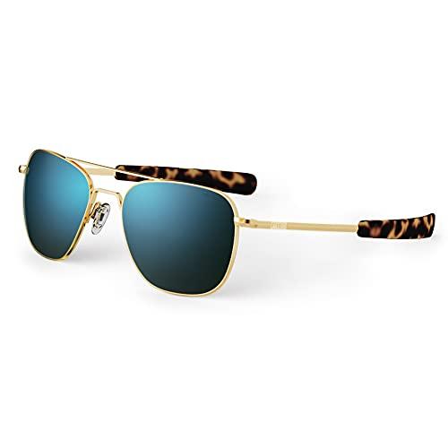 Randolph USA   Gafas de sol de aviador clásicas doradas para hombre o mujer 100% UV
