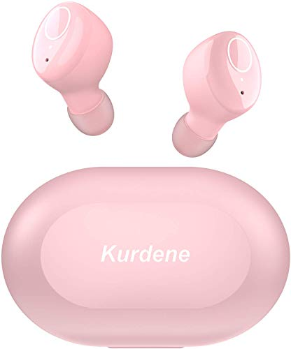 Kurdene Girls Wireless Earbuds,Bluetooth Earbuds with Charging Case Immersive Sounds IPX8 Waterproof Sport Mini Earphones Touch Control 24H Playtime for iPhone/Samsung/Windows/Android -Rose Pink