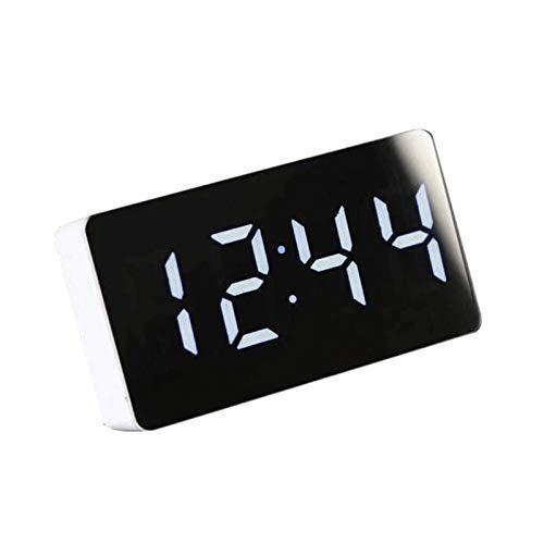 Dashun Coche LED Espejo Indicador de Temperatura Despertador Mesa de diseño Simple Reloj Digital