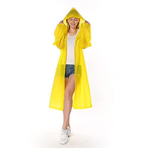 LJFZMD Rain Jacket, Emergency Waterproof Rain Coat with Hoods And Sleeves, Reusable EVA Rainwear for Adults Portable Raincoat for Hiking,Travel,Outdoor,Camping,Yellow,M