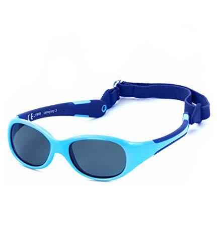 Kiddus Gafas de Sol de UNA SOLA PIEZA para Bebés a partir de 0 Meses. Prácticamente IRROMPIBLES. 100 % Protección UV400. Muy FLEXIBLES. Sin BPA. Con Banda Ajustable y Extraíble. ALLROAD (58 Azules)