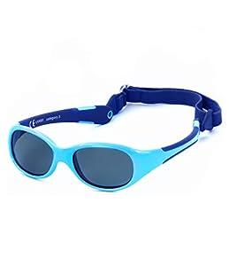 Kiddus Gafas de Sol de UNA SOLA PIEZA para Bebés a partir de 0 Meses. Prácticamente IRROMPIBLES. 100% Protección UV400. Muy FLEXIBLES. Sin BPA. Con Banda Ajustable y Extraíble. ALLROAD (58 Azules)