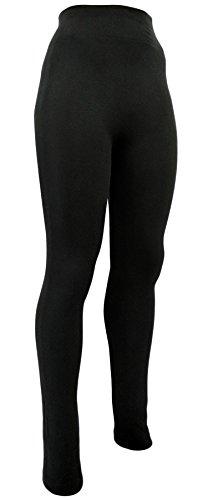 Winter-Leggings für Damen mit Teddyfutter Blickdicht Matt Schwarz Nahtlos Hosenteil - Ski Unterwäsche (36-40)