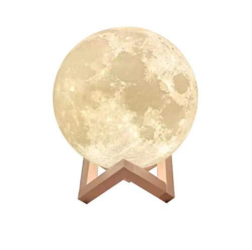 3D noche luz ilusión lámpara LED luz de la luna con soporte de madera táctil 16 colores decoraciones regalos de cumpleaños para niños 3D ilusión óptica luces