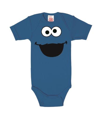 Logoshirt Barrio Sésamo - Monstruo de Las Galletas Cara Pelele para bebé - Body para bebé - Azul - Diseño Original con Licencia, Talla 62/68, 3-6 Meses