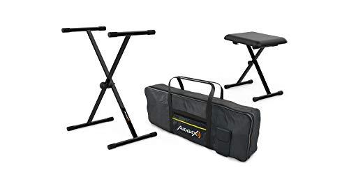 Audibax Onyx Ständer für Tastatur/Klavier + Sitzbank + Tastaturhülle 61 Tasten