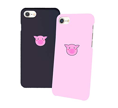 Pink Pig Couple Love_011348 Iphone Phone Hard PC Case Cover For Couples Best Friends In Relationship Present BFF Bae For Iphone 6 6s 7 7plus 8 X Case Cover 3D Print