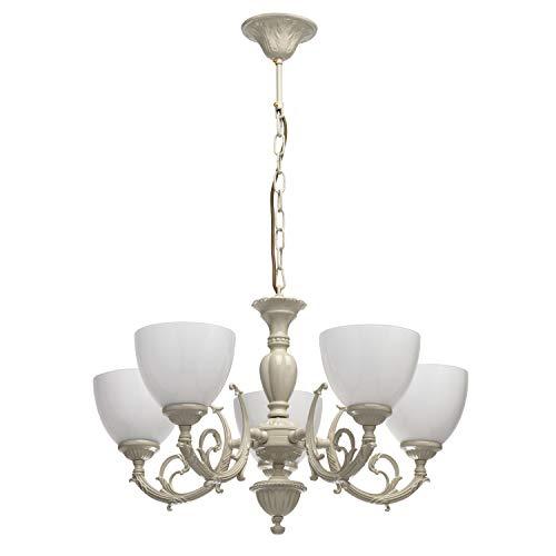 MW-Light 450013005 Kronleuchter Klassisch Beige Gold Metall Glasschirme Elfenbein E27 5 Flammig x 60W