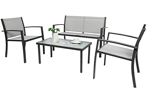 Joolihome Garden Furniture 4 Seater, Rectangular Glass Coffee Table 2 Textilene Armchairs 1 Double Seat Sofa, 3 + 1 Piece Indoor Outdoor Dining Set for Patio, Lounge, Balcony, Terrace (Grey)