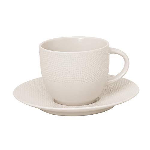 Tasse à thé 22 cl et sa soucoupe Vésuvio blanc (Lot de 2)