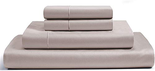 CHATEAU HOME COLLECTION 100% Egyptian Cotton Sheets Queen Size, 800 Thread Count Taupe 4 Piece Sheet Set, Solid Sateen Weave, 16 Deep Pocket (Fits Upto 18 Mattress), Long Staple Cotton Bedsheet Set
