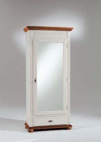 Bonito Dielenschrank mit 1 Spiegeltür und 1 Schubkasten in Fichte elfenbein lackiert - bernstein antik patiniert - teilmassiv
