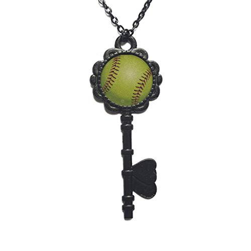 Collar con llave de béisbol de plata simple minimalista bola deporte equipo softball encantos clave collar, joyería de fanáticos de béisbol, PU013