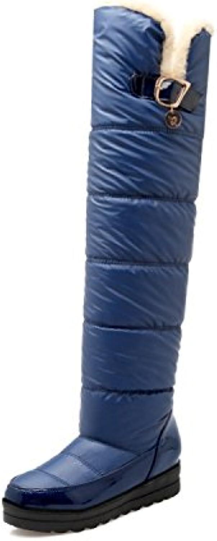 HRCxue Pumps Schneestiefel mit Daunen über den Knien, Dicke Schneestiefel, blau, 39