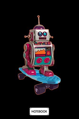 Retro Robot Riding Skateboard Notebook: Matte Finish Cover, Planner, Journal, Lined College Ruled Paper, 6x9 120 Pages, Diary