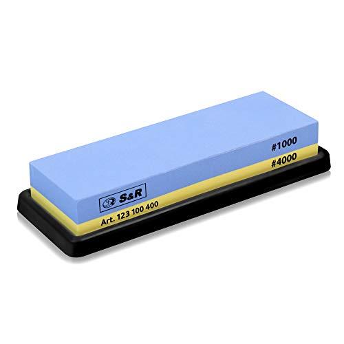 S & R dubbelzijdige slijpsteen 18 x 6 x 3 cm met korrel 1000/4000 en siliconenhouder, 100% korund