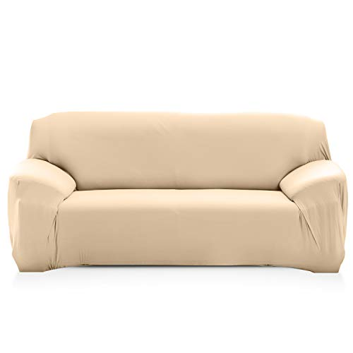 PETCUTE Fundas de sofá elasticas Protector de sofá Funda Elastica Chaise Longue Cubre Sofa Elastico Funda Sillon Beige 2 plazas