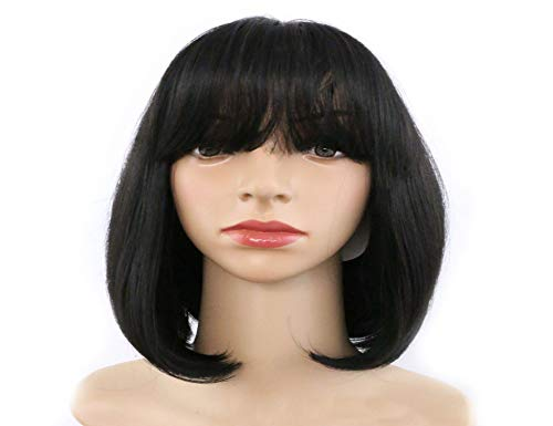 LHFLIVE Short Straight Bob Synthetic Full Hair Wig with Flat Bangs Cosplay Daily Party Wig for Women Natural Looking As Real Hair+6 Free Wig Cap