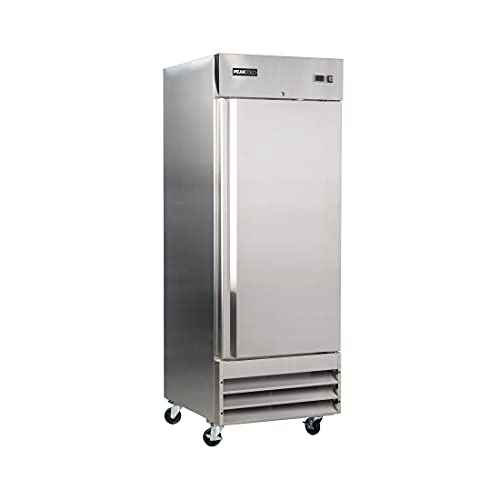 """Peak Cold Single Door REFRIGERATOR; Commercial Reach In Stainless Steel, White Interior; 23 Cubic Ft, 29"""" Wide"""