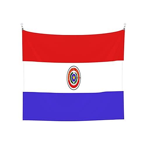 Paraguay-Flaggen-Symbol, Wandbehang, Tarot-Boho, beliebt, mystisch, Trippy-Yoga, Hippie-Wandteppiche für Wohnzimmer, Schlafzimmer, Wohnheim, Heimdekoration, schwarz & weiß Stranddecke
