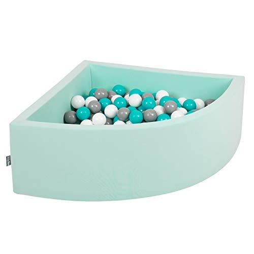 KiddyMoon 90X30cm/200 Balles Piscine À Balles ∅ 7Cm pour Bébé Quart Angulaire Fabriqué en UE, Menthe : Gris-Blanc-Turquoise