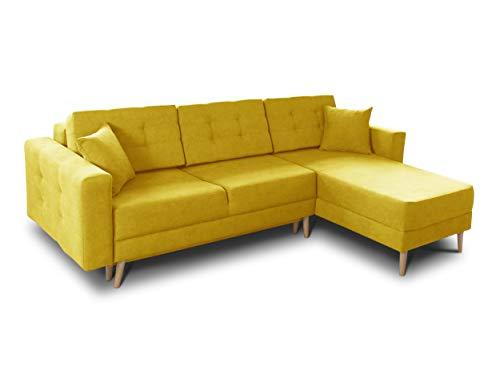 Ecksofa Porto - Sofa, Eckcouch, Couch mit Schlaffunktion und Bettkasten, L-Form, Schlafsofa mit Stoffbezug, Bettsofa, Skandinavisch Polstergarnitur (Gelb (Soro 40))