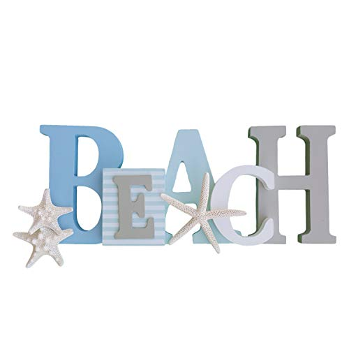 Wooden Beach Word Sign with Trio of Loose Starfish - Tropical Beach Home Decor